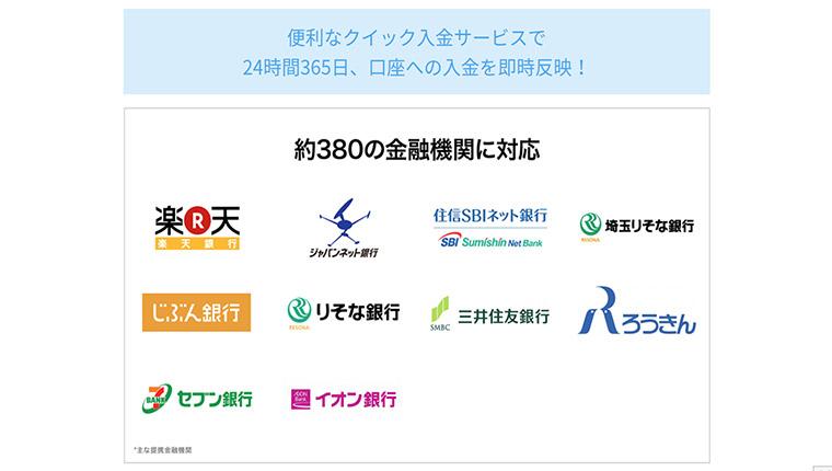 QUOINEXの入金方法(手数料など)と提携銀行について